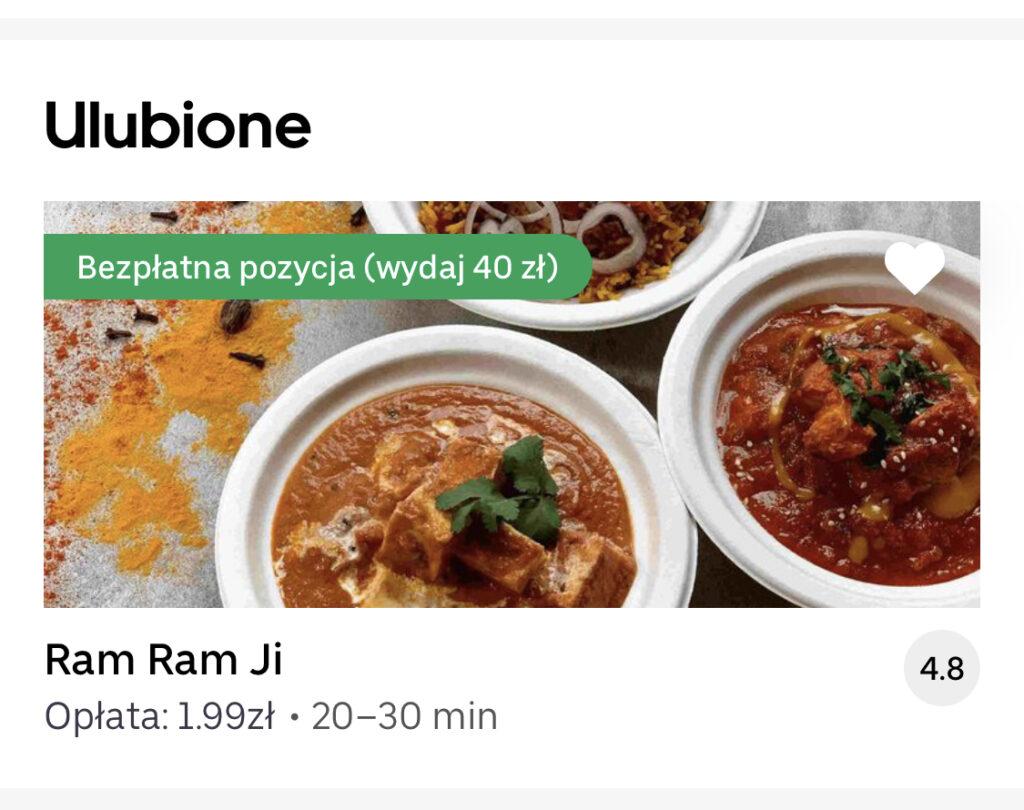 restauracja indyjska ram ram ji Gdynia uber eats